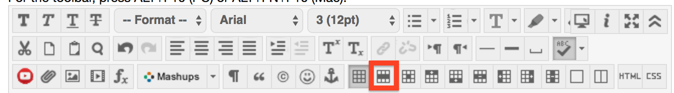 Screenshot of the table properties button in the ribbon bar.