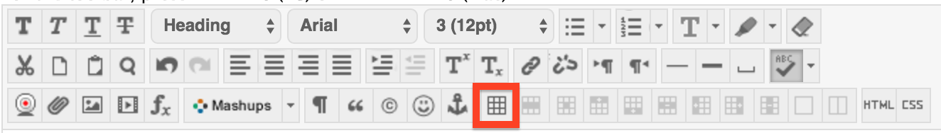 Screenshot of the table insert/edit table button in eCampus.