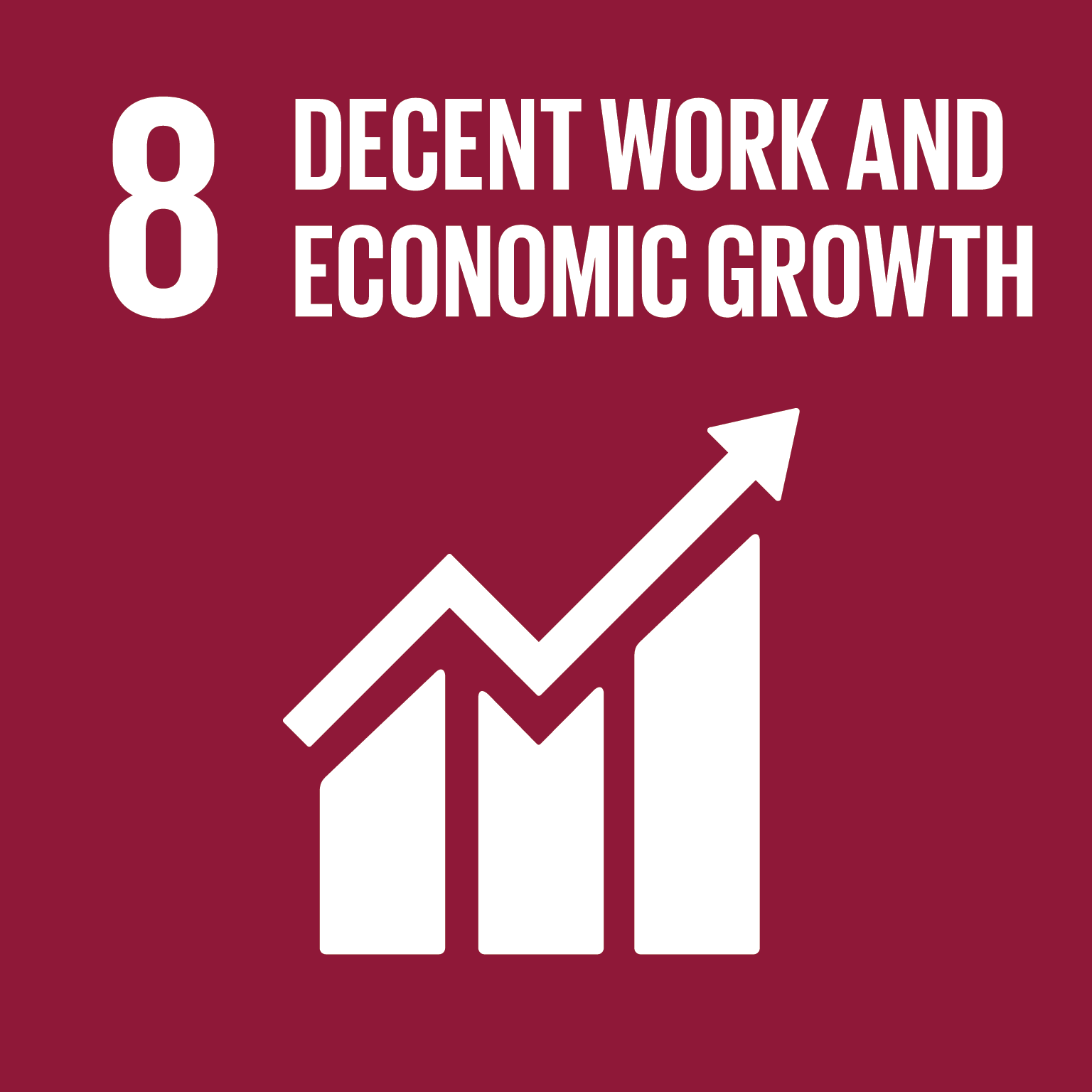 Goal 8: Decent Work, the text of this infographic is listed below