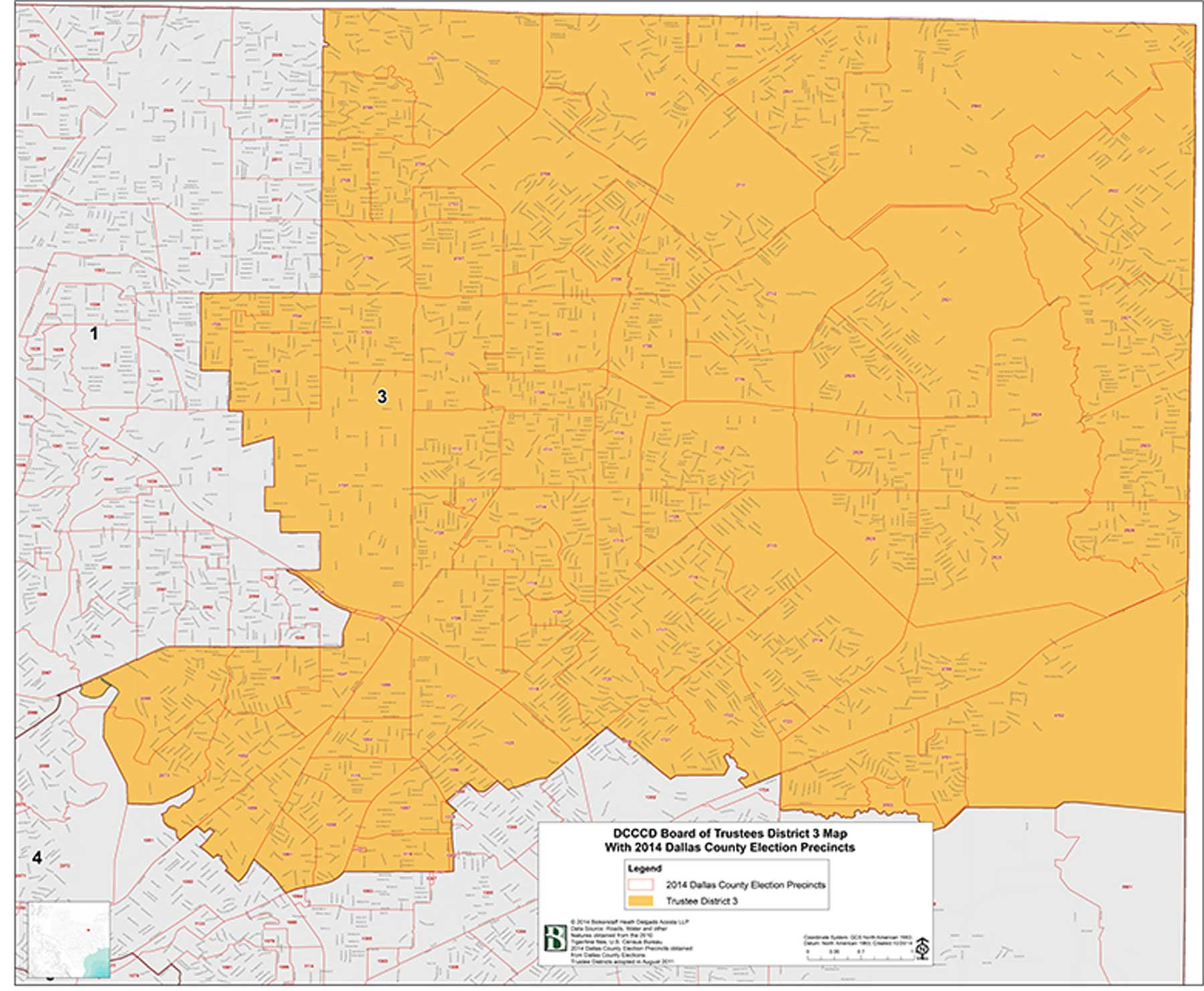 DCCCD Board of Trustees District 3 Map