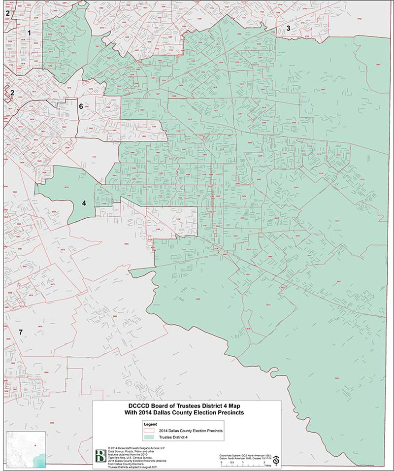 DCCCD Board of Trustees District 4 Map