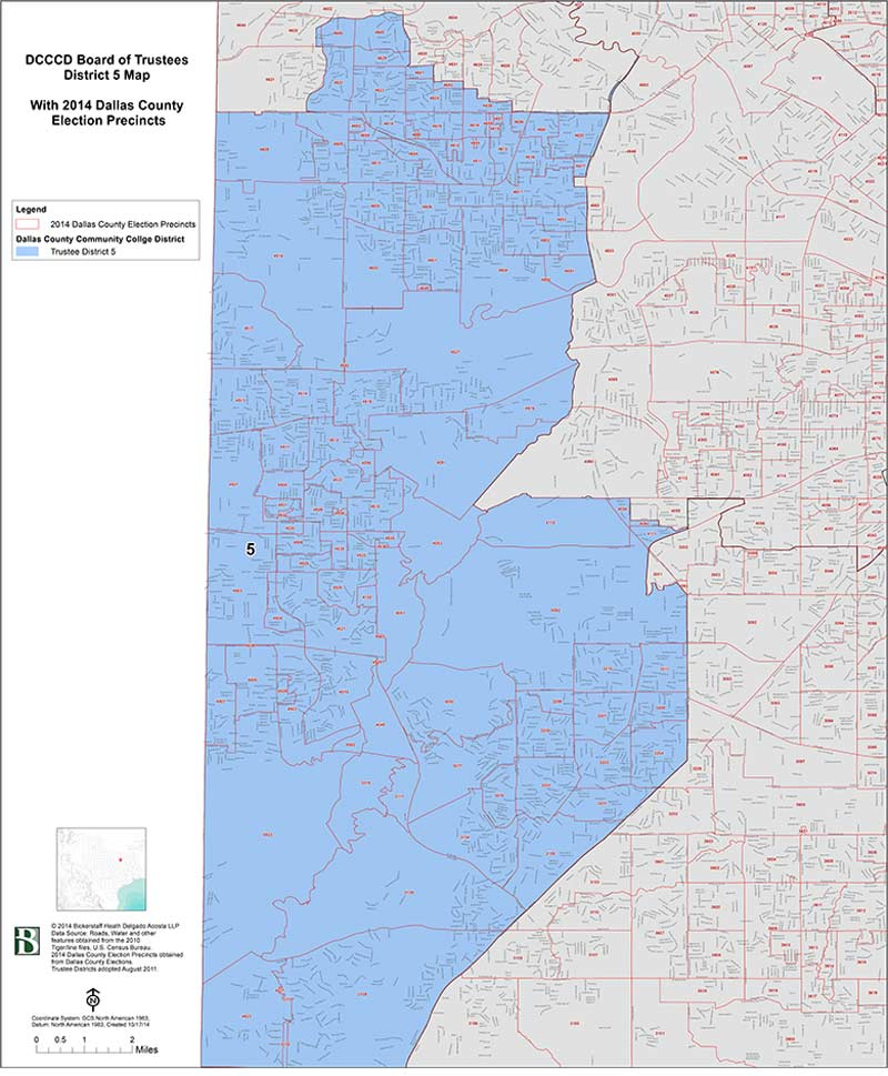 DCCCD Board of Trustees District 5 Map