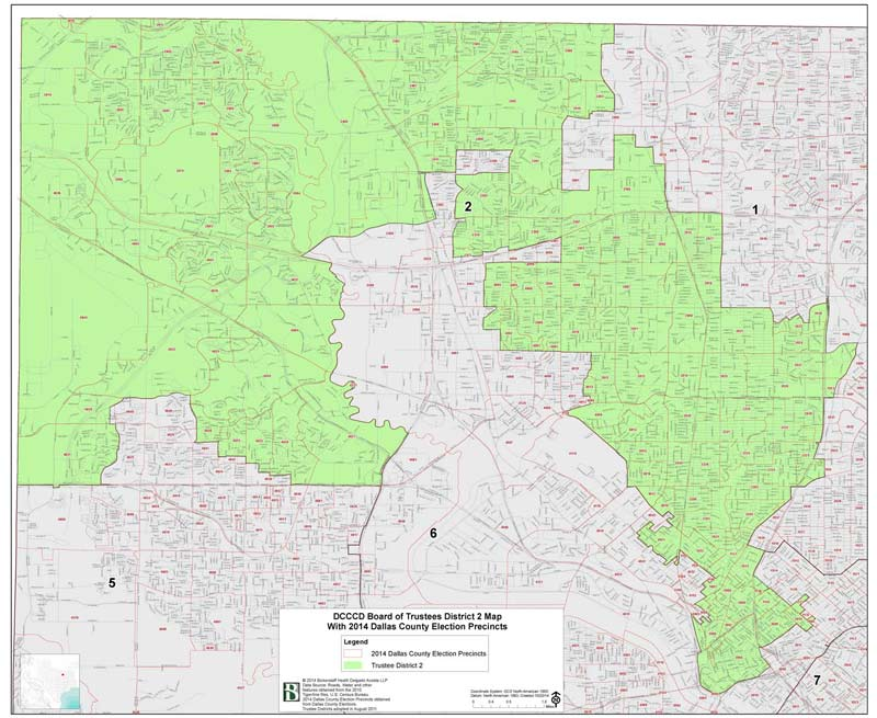 DCCCD Board of Trustee District 2 Map