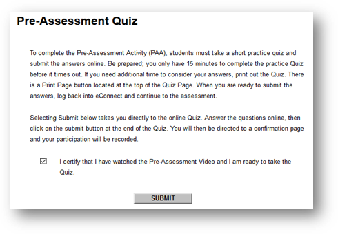 A screenshot of the Pre-Assessment Video quiz information. Plain text below image.