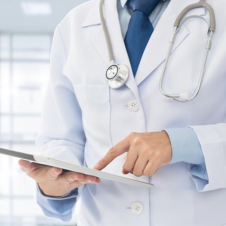Electronic Health Records viewed by a doctor
