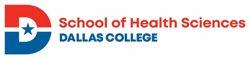 red and blue dallas college heath sciences logo