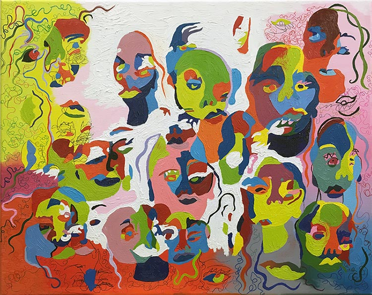 Oil, acrylic, and ink on canvas painting using bright greens, reds, oranges, blues and whites of abstracted faces of people as well as eyes and squiggly lines.