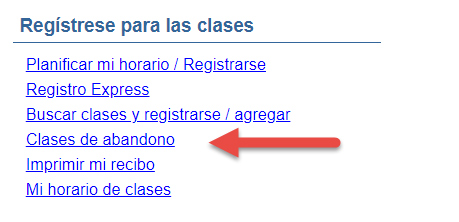 Captura de pantalla del menú de estudiantes de crédito actual en eConnect resaltando Classes de abandono.
