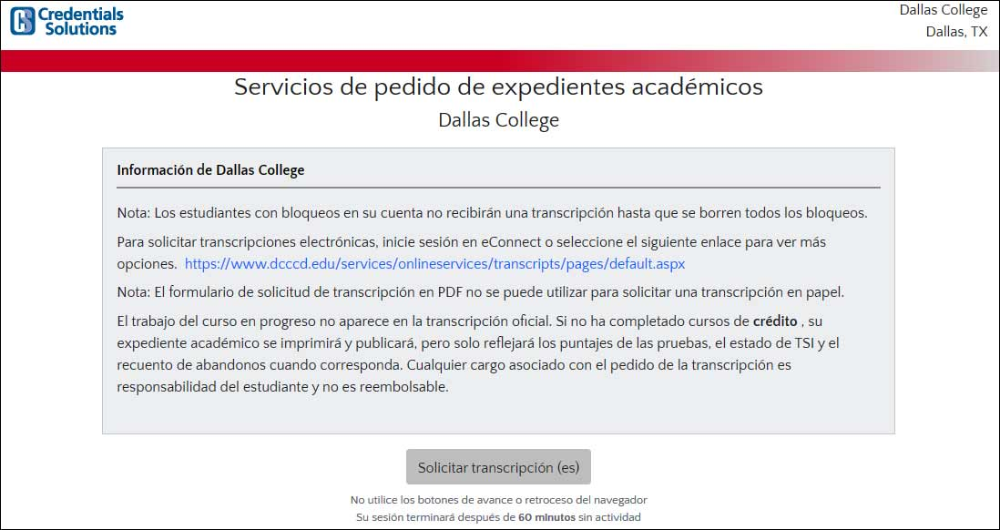 Captura de pantalla de la transcripción de Credential Solutions que ordena el sitio web de Dallas College.