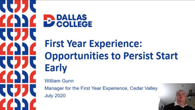 Thumbnail for First Year Experience: Opportunities to Persist Start Early presentation video