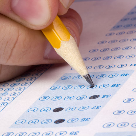 Photo of a test scantron being filled out.