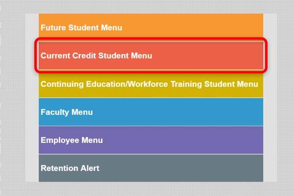 Screenshot from eConnect highlighting the Current Credit Student Menu