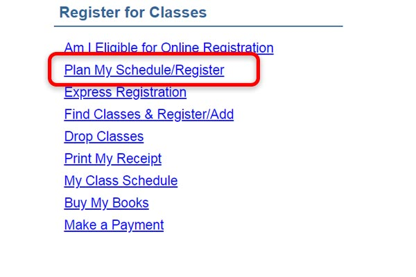 Screenshot from eConnect highlighting the Register for Classes Menu