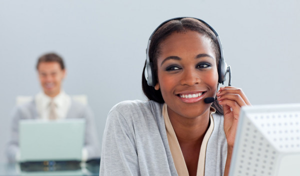 business woman using headset