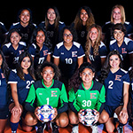 Team photo of Dallas College Eastfield female soccer players in their team jerseys
