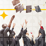 Group of college graduates throwing their caps up into the air