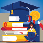 Illustration of a student sitting with a laptop computer in front of a graduation cap topping off a stack of books, a pencil and dollar coins