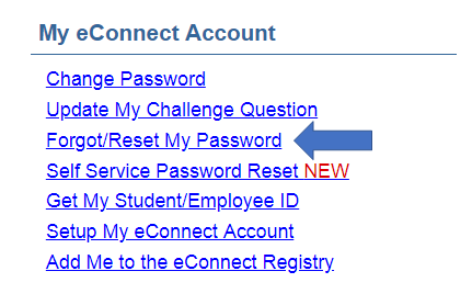 a screenshot from eConnect, showing Forgot/Reset My Password under the My eConnect Account header