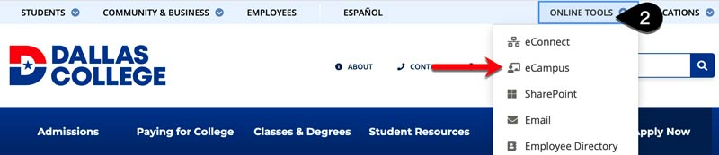 Screenshot of the Dallas College homepage with the Online Tools menu expanded. eCampus is highlighted on the tool menu.