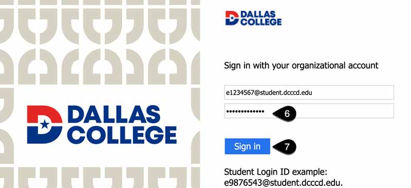 Screenshot of Dallas College organizational account Login page. The password entry field and Sign in button are highlighted.