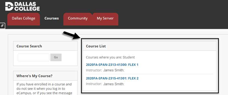 Screenshot of the top of the eCampus home page. The course list in which the student is enrolled is highlighted.