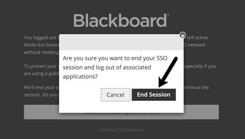 Screenshot of Blackboard End Session confirmation screen. End Session button is highlighted.