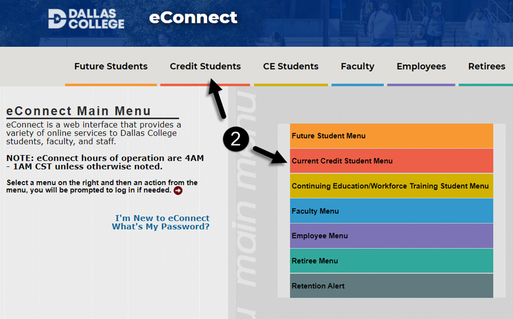 Screenshot of the eConnect home page with Current Credit Student Menu highlighted.