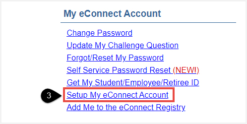 Screenshot of My eConnect Account section of the credit student menu with Setup My eConnect Account highlighted.