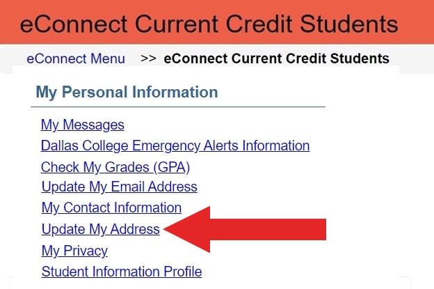 Screenshot of the eConnect Current Credit Students Menu with Update My Address highlighted.
