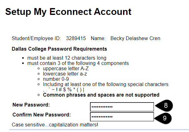 Screenshot of the Setup My eConnect Account page with New Password and Confirm New Password highlighted.