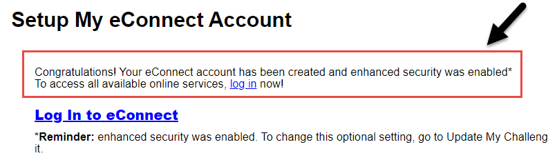 Screenshot of the Setup My eConnect Account page with confirmation of account setup highlighted.