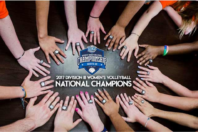 2017 Division III Women's Volleyball National Championship rings on players' hands